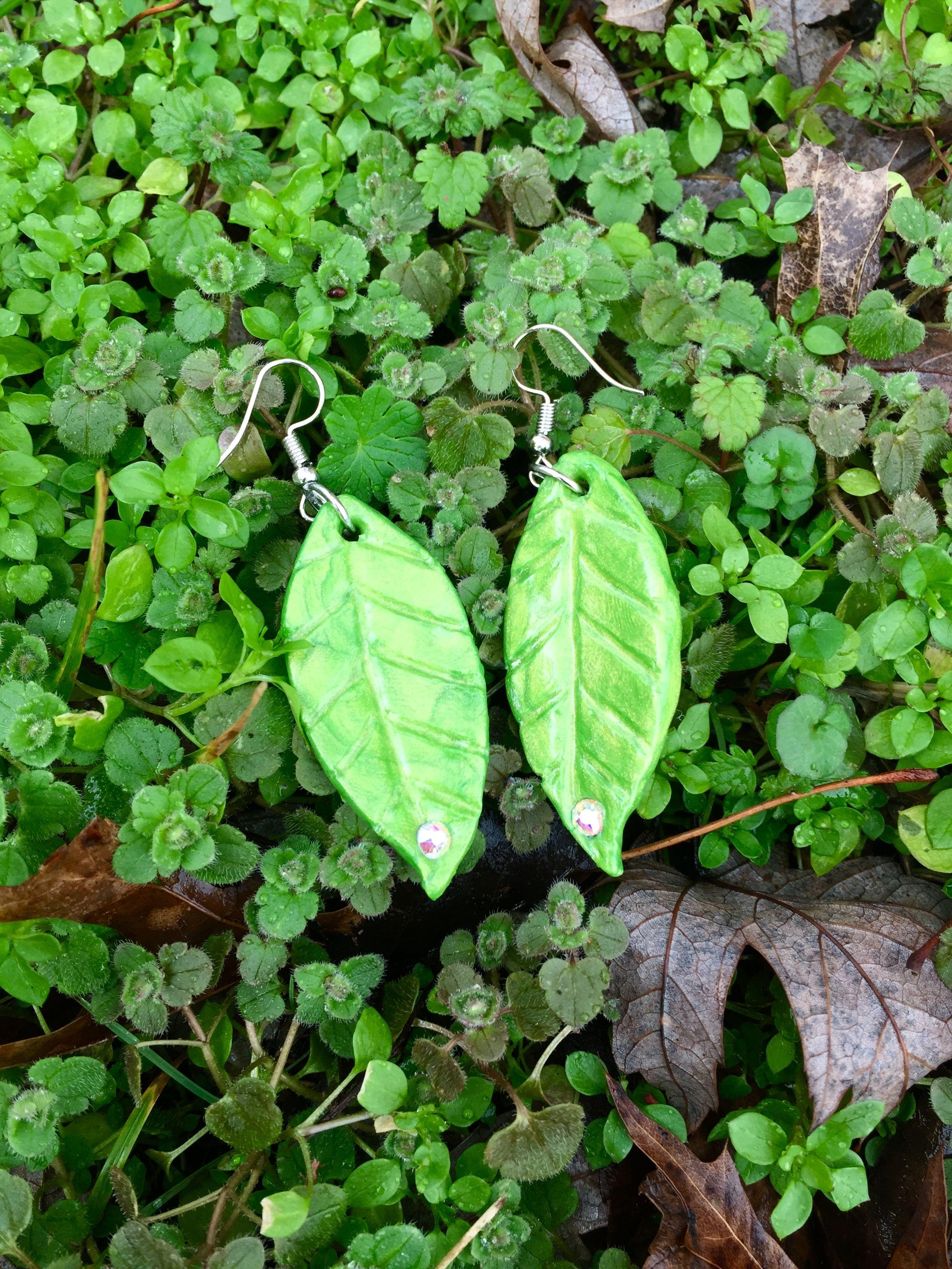 hook earrings Spring Leaf