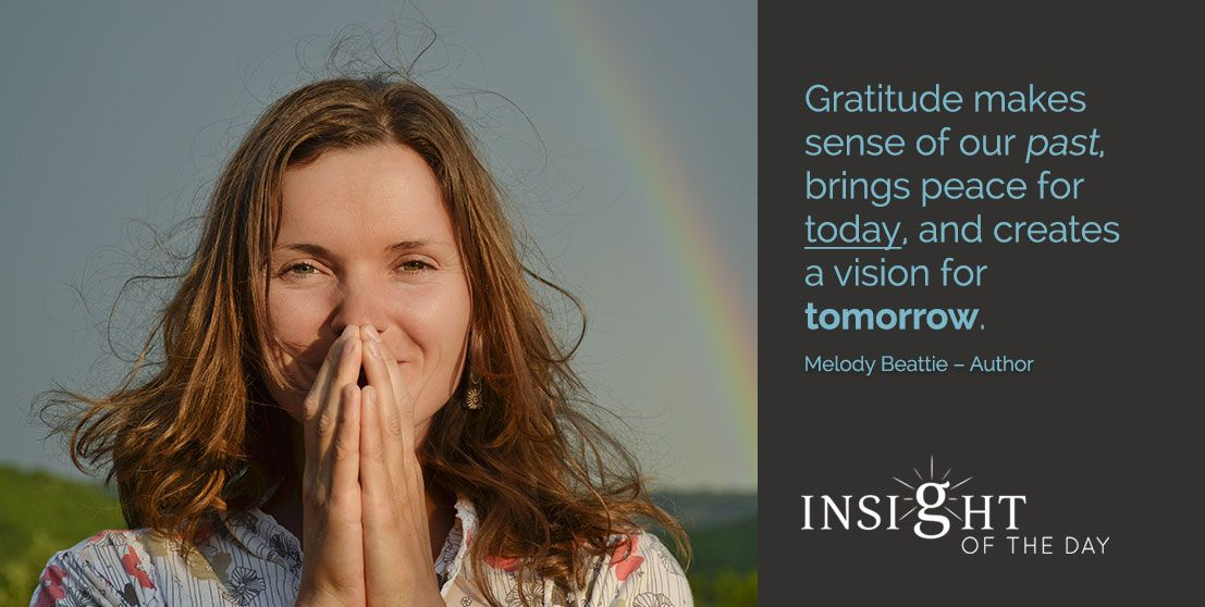 motivational quote: Gratitude makes sense of our past, brings peace for today, and creates a vision for tomorrow. - Melody Beattie - Author