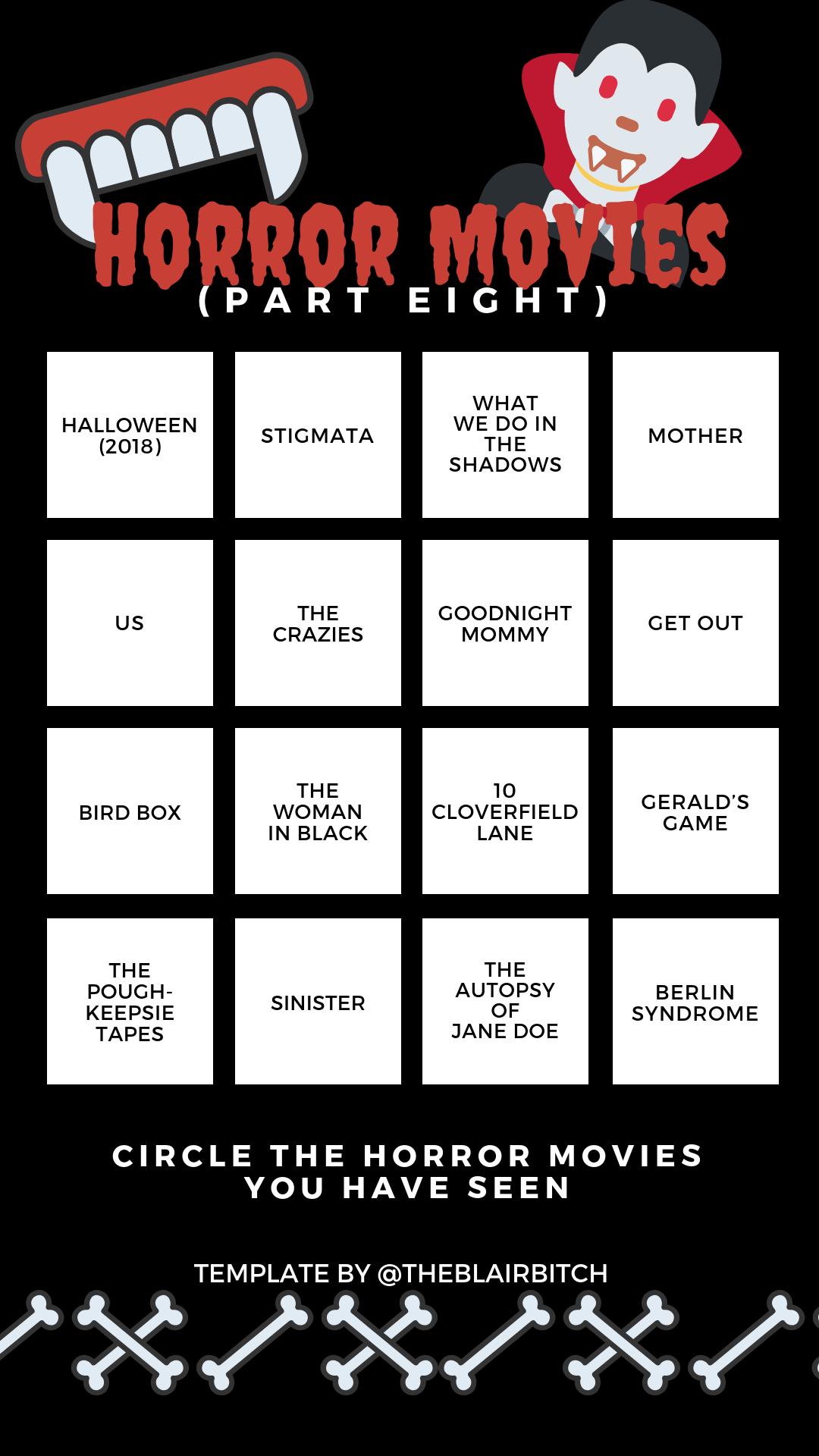 Horror Movie Bingo (Part Eight) Instagram Story Template