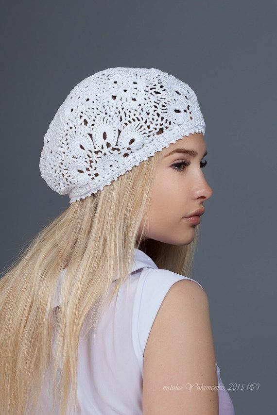 Crochet  summer women's hat beret, white crochet flower hat, lace summer hat