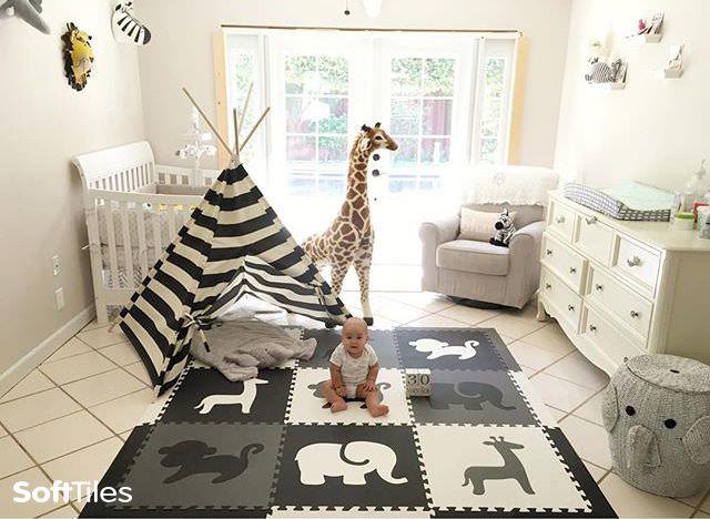 Safari Animals Kids Play Mat Sets With Borders Black Gray