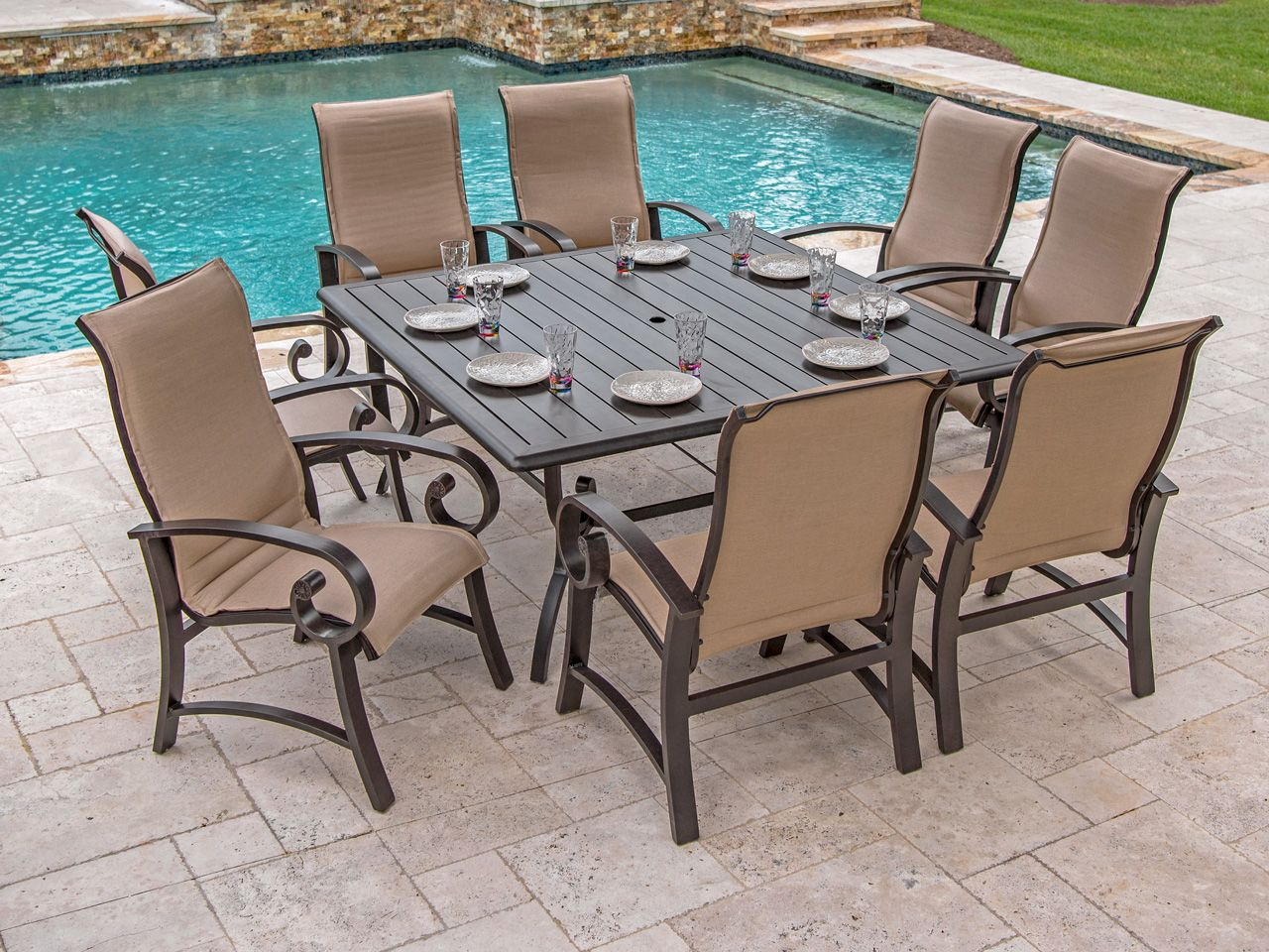 Summit Padded Sling 8 Pc Aluminum Dining Set With 64 Square Slat Top Table Outdoor Furniture Sets Outdoor Furniture Dining Furniture - Outdoor Furniture Clearance Houston