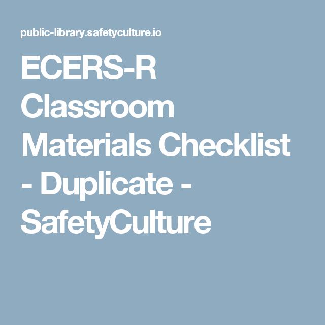 Ecers Materials Classroom Checklist  Resources Etc