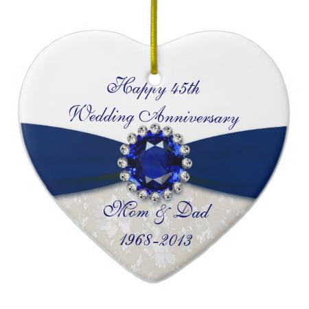Damask 45th Wedding Anniversary Ornament