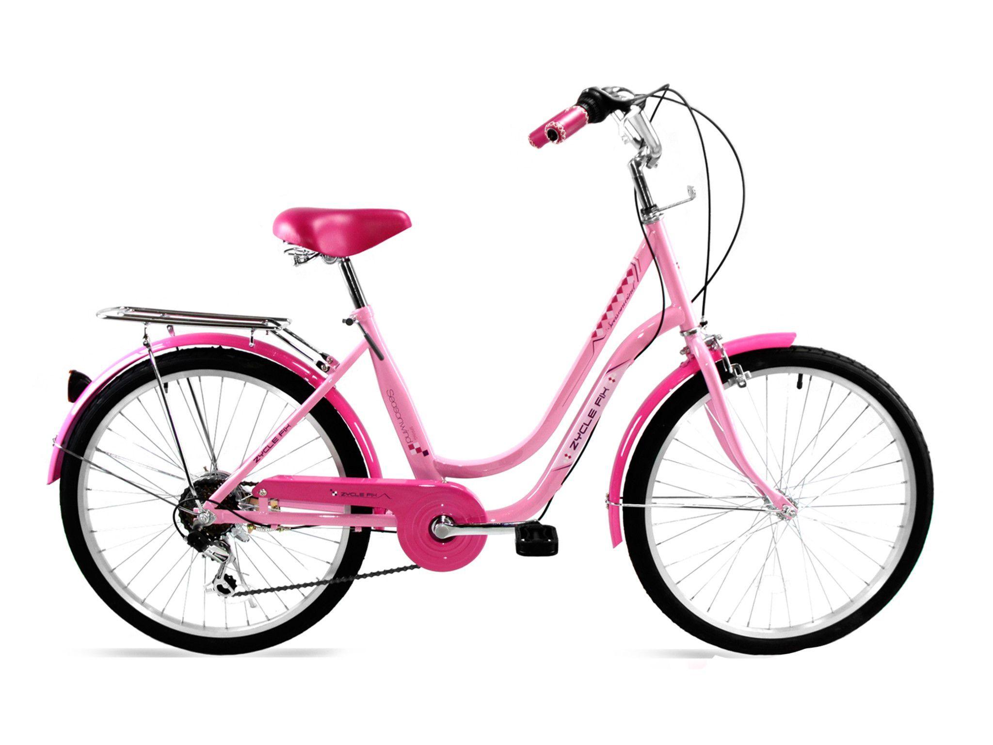 "Zycle Fix 24"" City Commuter Bike Shimano 6Speed (Pink"
