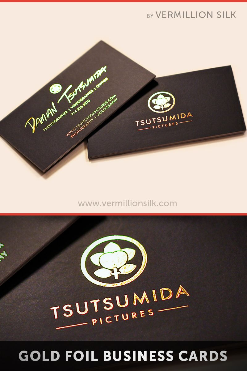 Gold hot foil stamping over black silk business cards. Printed by ...