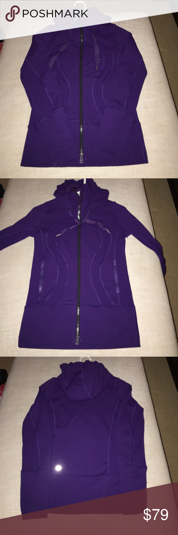 Lululemon Athletica Hooded Stride Jacket Lulu Stride jacket , fitted , size 2, beautiful deep shade of purple, has collar that can zip all the way up the neck for extra warmth , hood, slightly longer to keep rear warm ..excellent condition, barely worn lululemon athletica Jackets & Coats