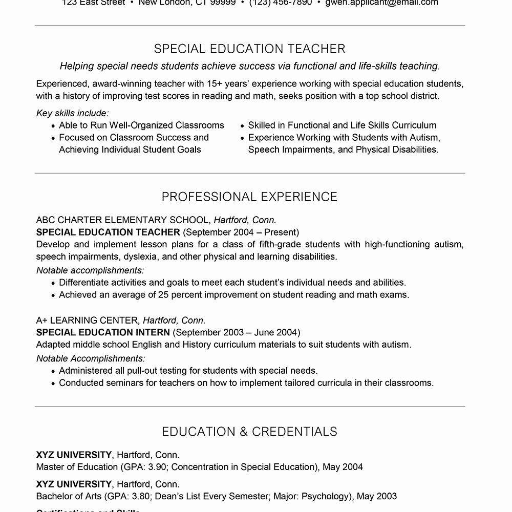 Special Education Teacher Resume Examples Beautiful Sample