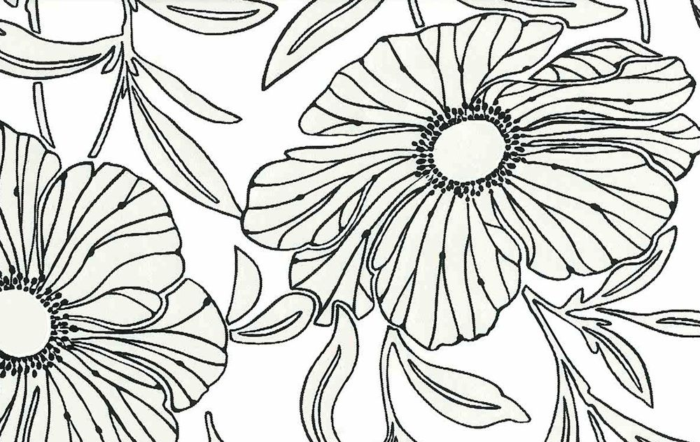 Kenneth James Modern Pearlized Black White Floral Wallpaper Rolls