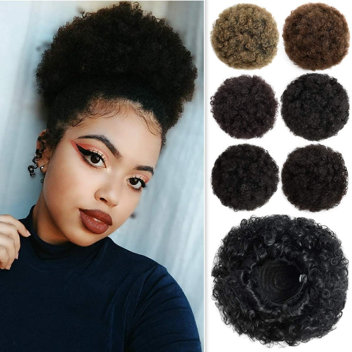 Afro Puff Drawstring Ponytail Bun Extensions Synthetic Updo Hair Pieces For Black Women In 2020 Drawstring Ponytail Hair Pieces Afro Puff