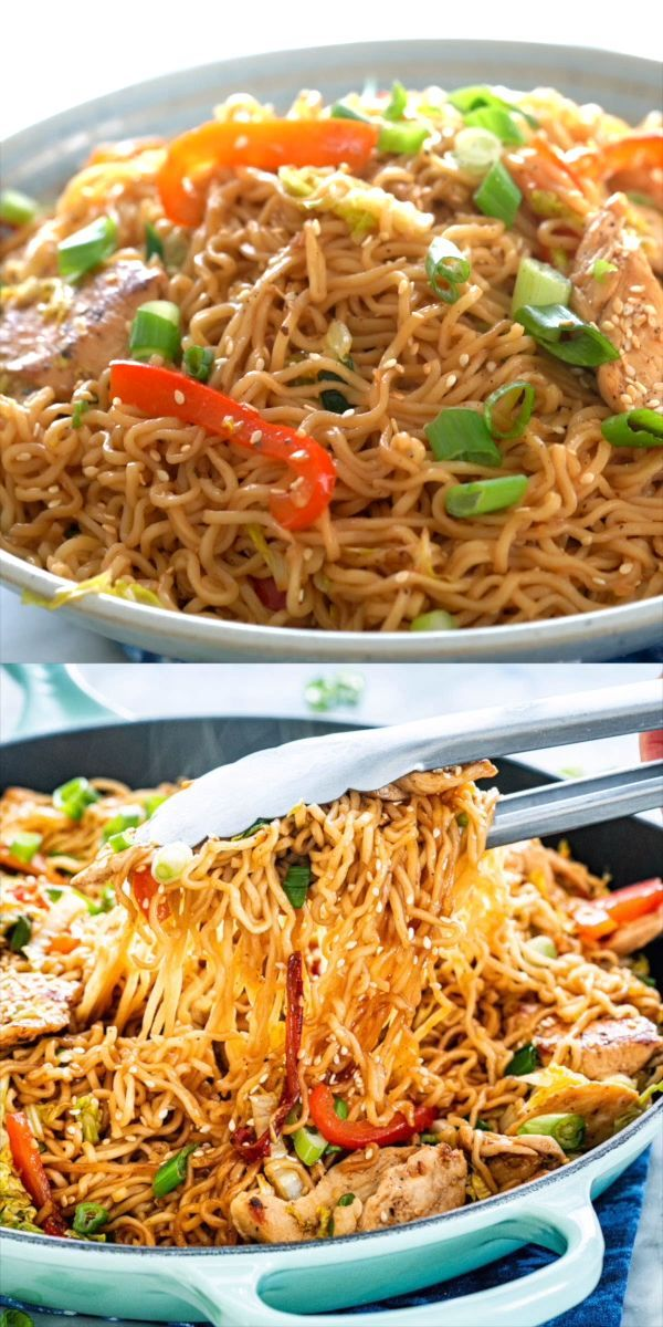 Chicken Ramen Stir Fry is a simple but tasty dish that is perfect for any night of the week. Packed full of crunchy veggies cooked down in a savory spicy sauce, served over ramen noodles, this dish is a home run! #ramen #chicken #stirfry #howtostirfry