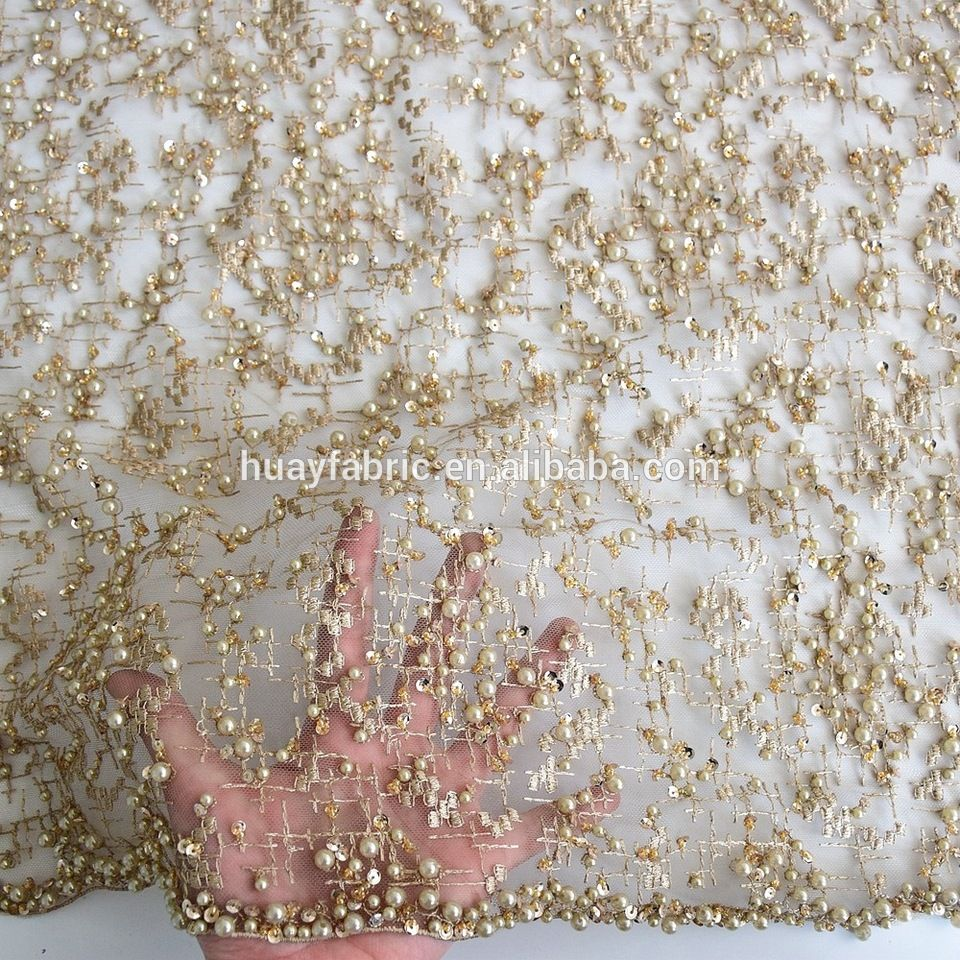 2017 Top end french gold sequins tulle lace fabric 3d lace fabric beads  bridal wedding lace HY0617 b9427ff385a7