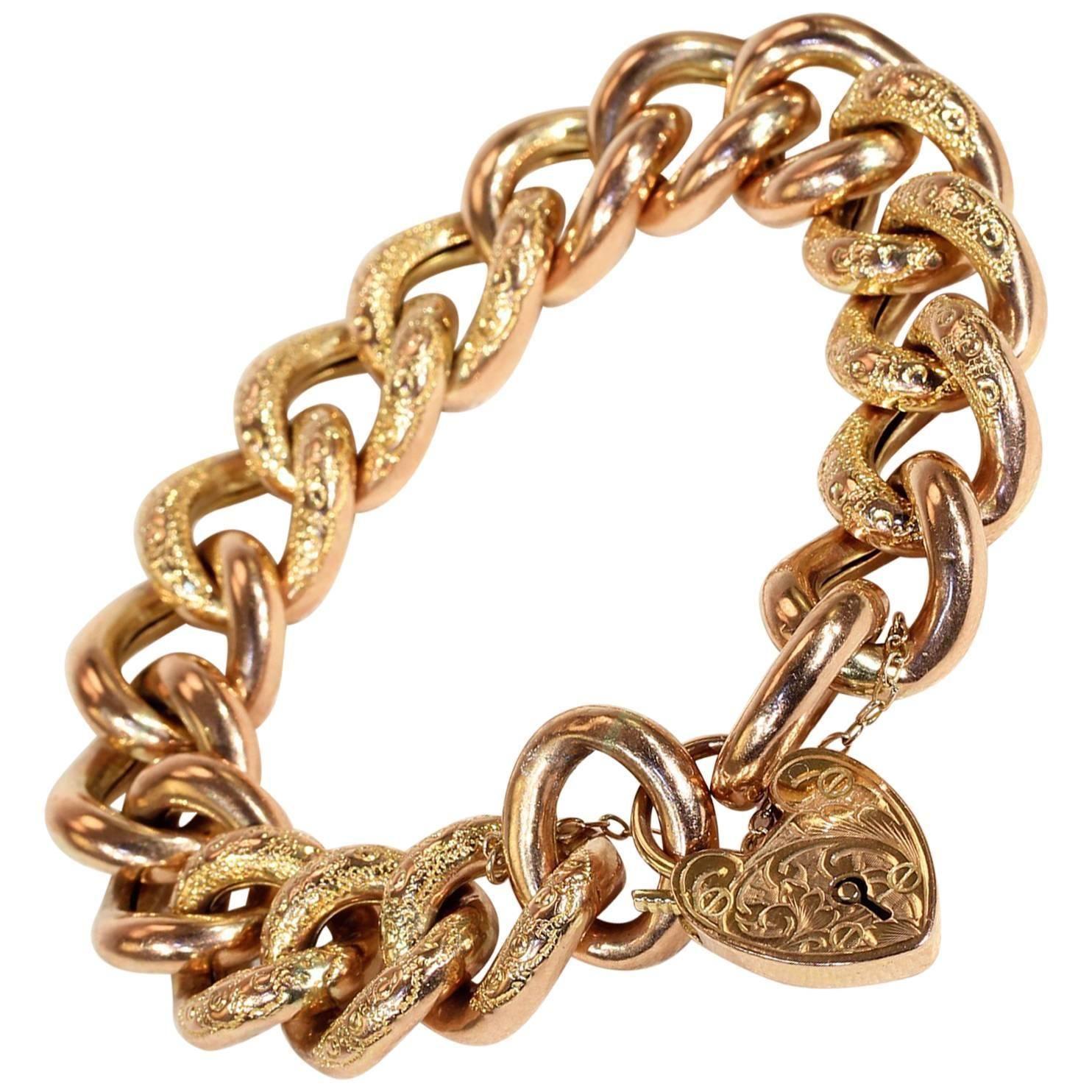 Antique Victorian Gold Curb Link Heart Lock Bracelet