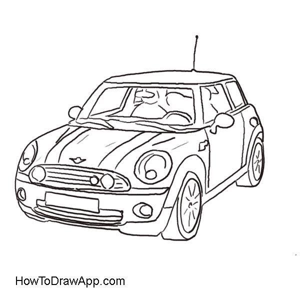 mini cooper cars coloring pages  auto zeichnen zeichnung