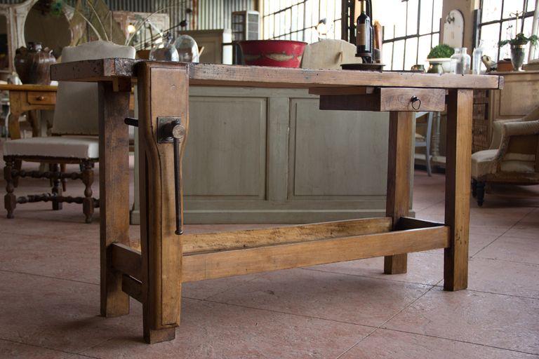 Kitchen Island Created From Old Workbench Loft Furniture Workbench Furniture