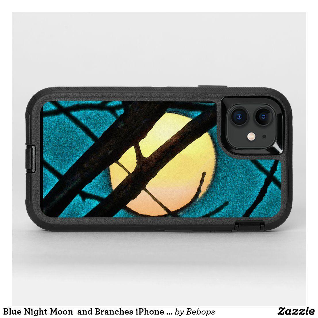 Blue midnight moon branch otterbox iphone 11 case zazzle