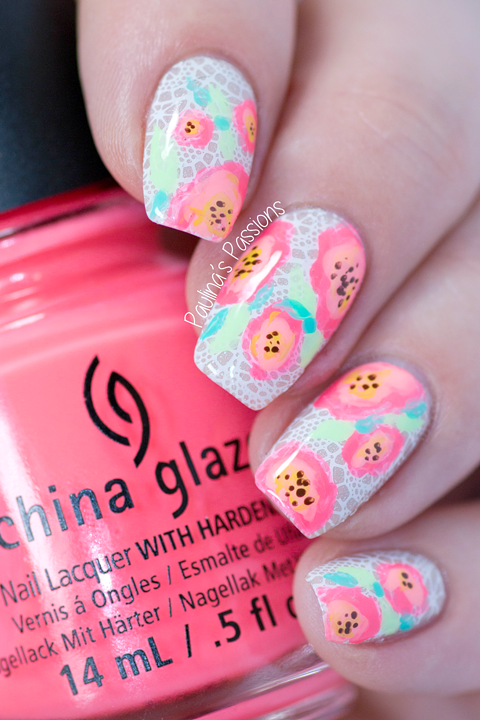 My Birthday Nail Art Bright Flowers Over Lace Stamping Re Pin