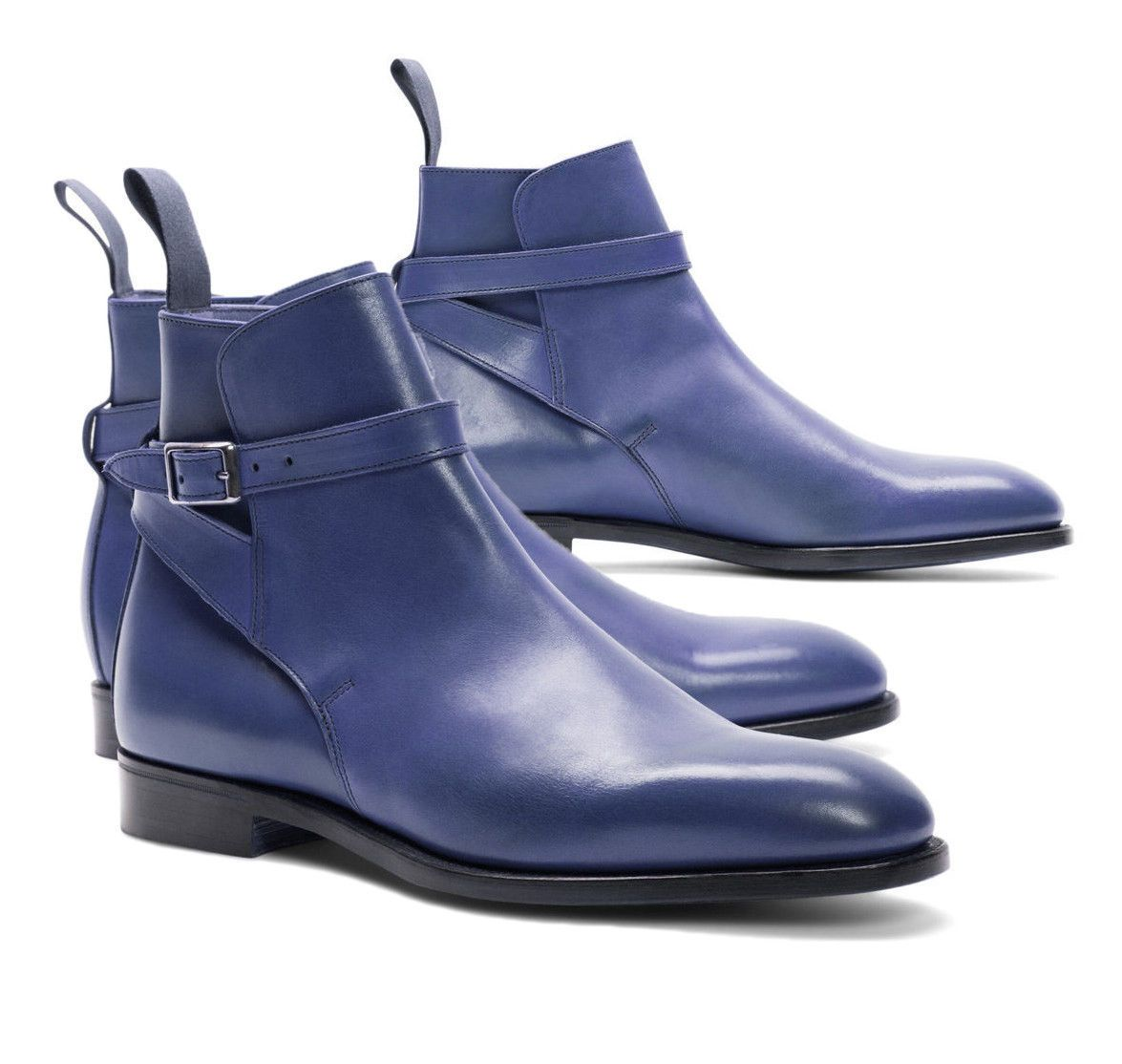 MEN HAND CRAFTED JODHPURS LEATHER BOOTS ANKLE HIGH DRESS FORMAL WEDDING BOOTS