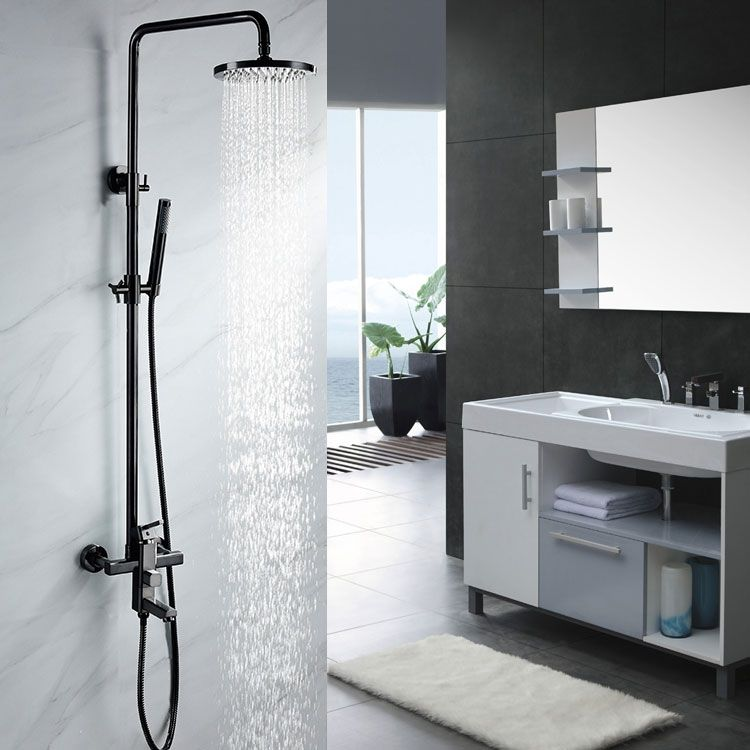 Single Handle Black Nickel Exposed Rain Shower System Tub Filler Spout Adjustable Height In 2020 Rain Shower System Shower Systems Shower Plumbing