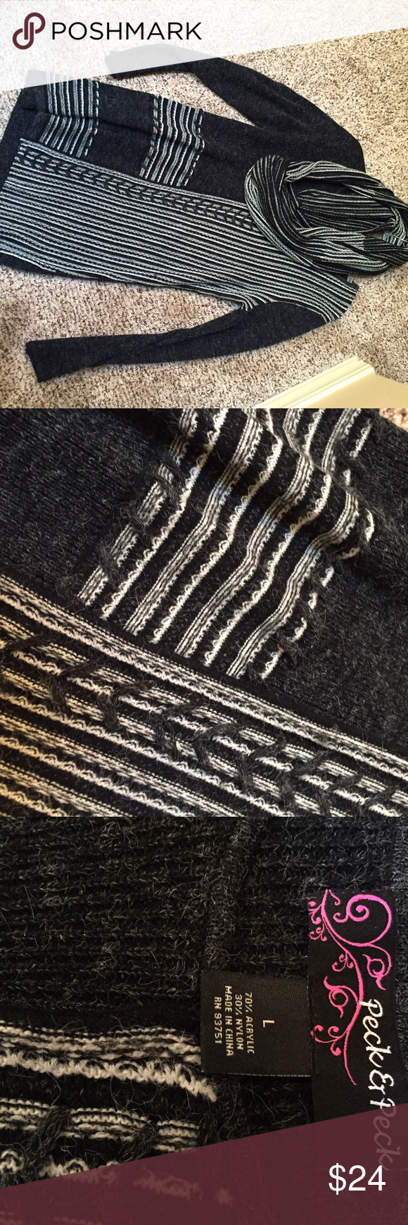 """BOGO FREE SALE 👑 Sweater w/ infinity scarf! EUC Peck & Peck tunic length sweater with matching infinity scarf! Shoulder to hem 29""""...throw on over leggings and boots! Armpit to armpit 19"""". Deep charcoal gray, almost black. Peck & Peck Sweaters Crew & Scoop Necks"""