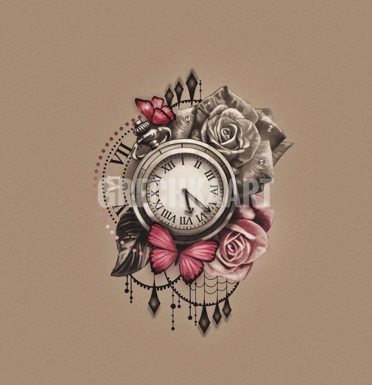 Photo of Taschenuhr Rosen Schmetterling Uhr Tattoo Idee. Sie können dem Link folgen und b,  #clocktatt…