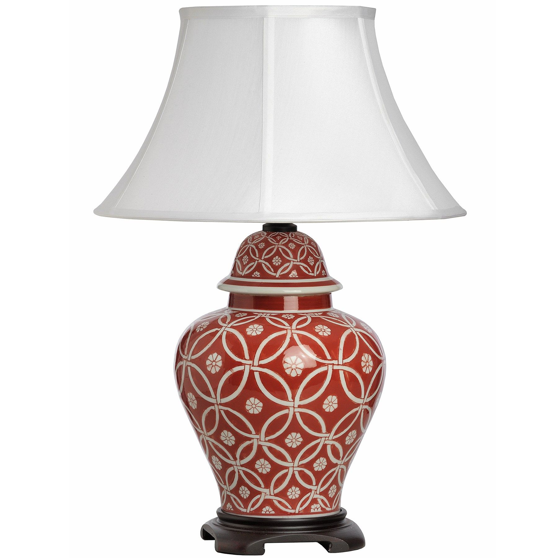 Athos White on Red Patterned Ceramic Table Lamp | Lighting ...