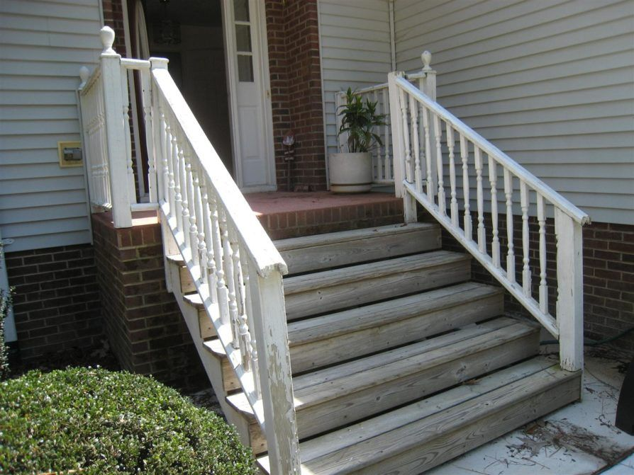 Classic Front Porch Step Designs With Pecan Wooden Front Porch