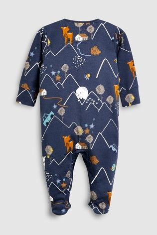 49c1e09a8d61 Buy Oatmeal Navy Animal Embroidered Sleepsuits Three Pack (0mths ...