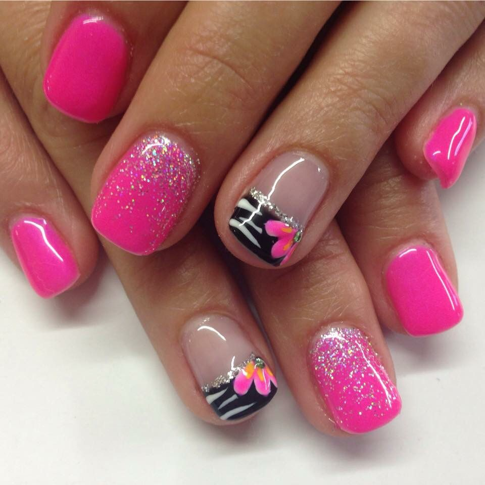 Hot Nail Designs: Hot Pink Gel Nails With Fading Glitters And Zebra Design