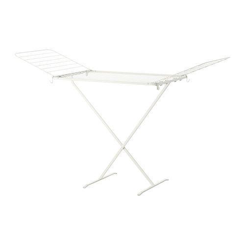 IKEA - MULIG, Kuivausteline, sisä-/ulkokäyttöön, valkoinen, , Sekä sisä- että ulkokäyttöön.Auki taitettavien siivekkeiden ansiosta telineessä on reilusti kuivatustilaa.Helppo taittaa kokoon, kun ei ole käytössä.