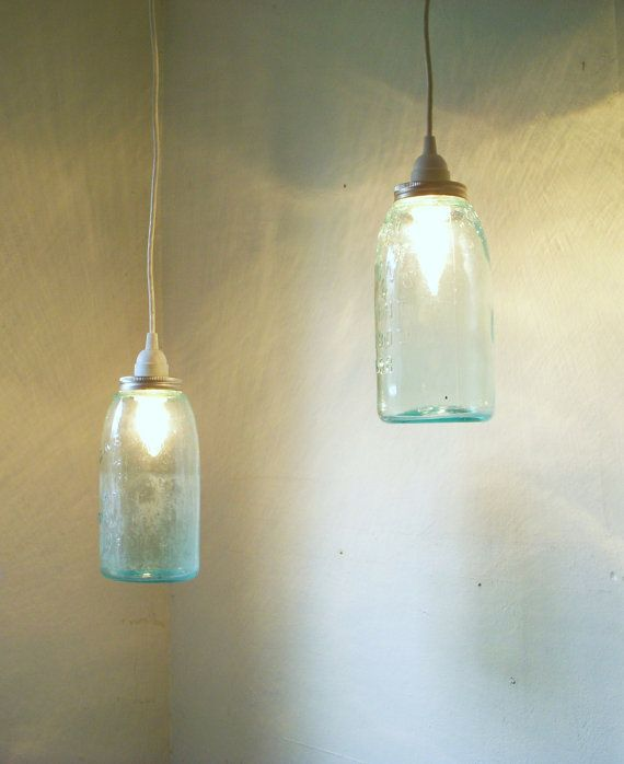 Set Of 2 Mason Jar Pendant Lights Blue Half Gallon Ball Jars