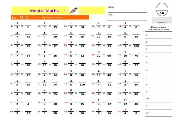 Teacherlingo Com 1 50 Series Of Mental Math Worksheets For Gr Yr 5 Equivalent Fractions Mental Math Math Mental Maths Worksheets