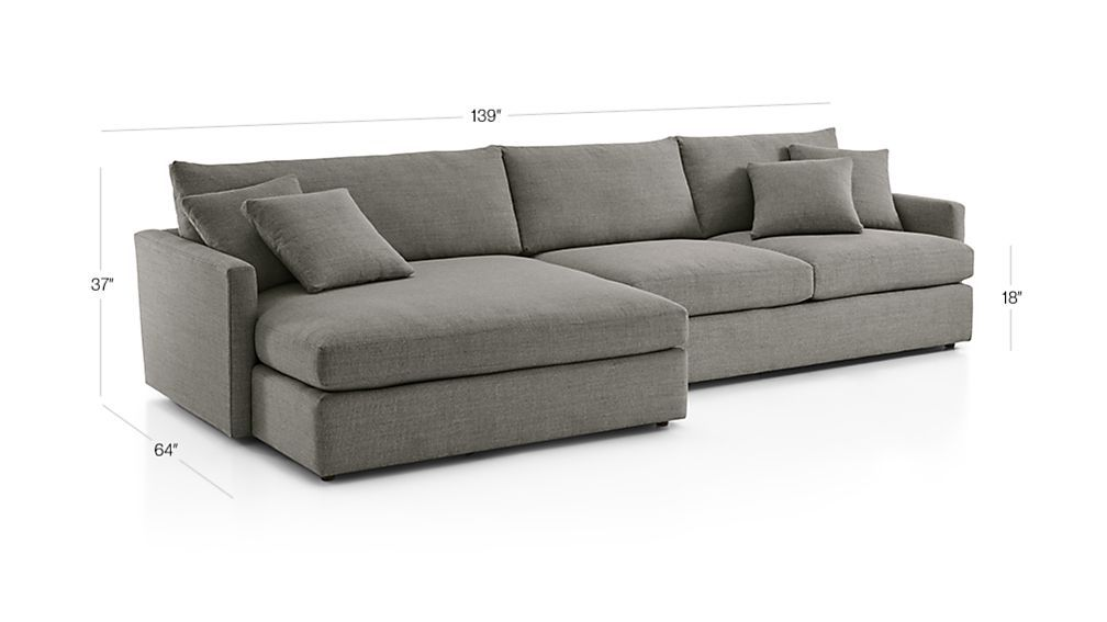 Image With Dimension For Lounge Ii 2 Piece Left Arm Double Chaise Sectional Sofa