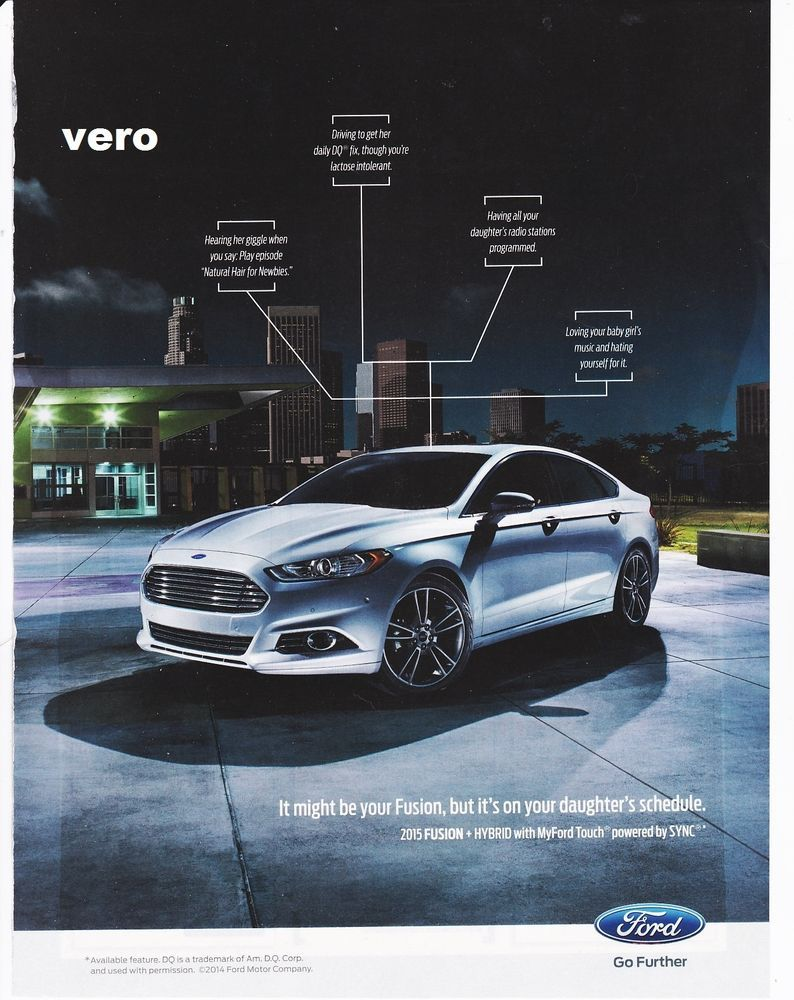Ford Fusion 2014 Magazine Ad Print Art Poster Page Clippin Car