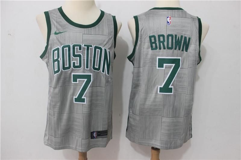 5638e98deb5f Men s Boston Celtics  7 Jaylen Brown Jersey Gray City Edition Fanatics  Swingman