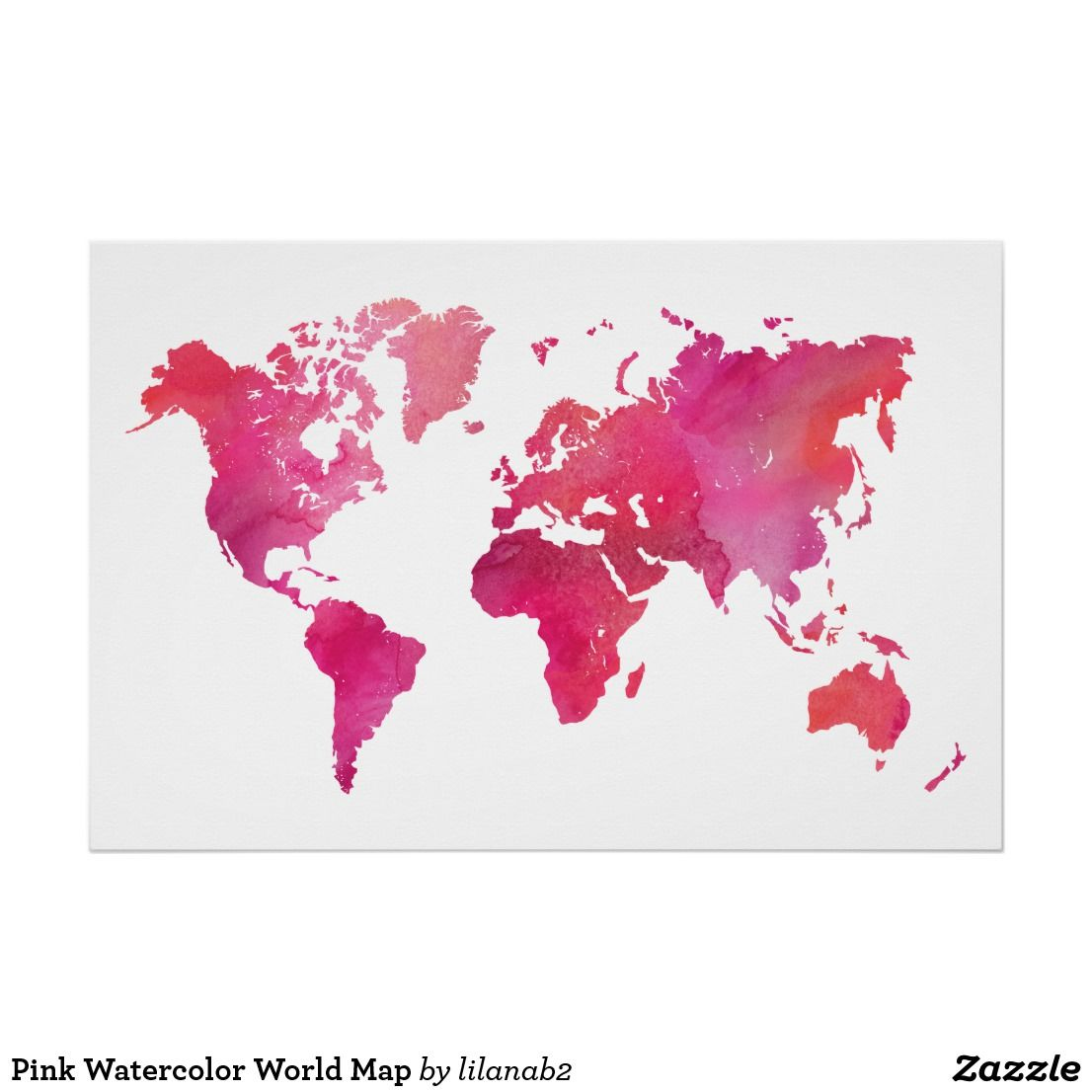 Pink watercolor world map poster pink watercolor and watercolor gumiabroncs Images