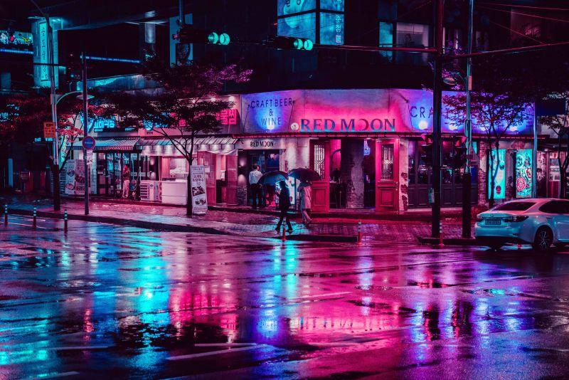 Rainy Street Incheon South Korea City Lights Wallpaper Neon Light Wallpaper Aesthetic Desktop Wallpaper City night background hd images
