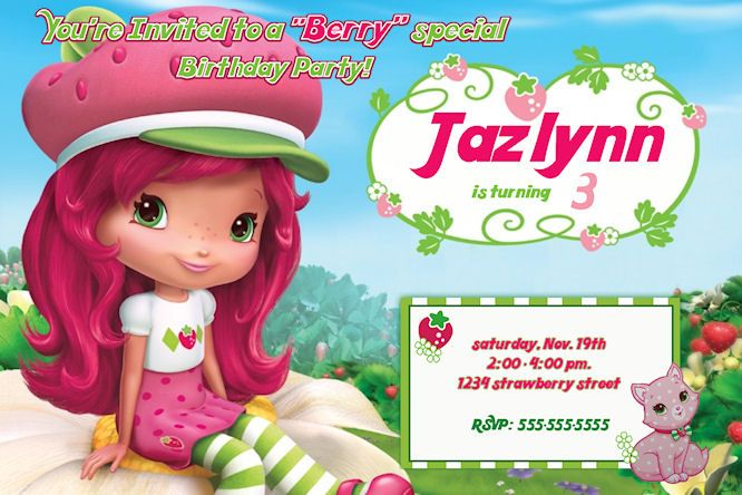 Strawberry Shortcake Birthday Invitation - Printable Kids - invitation birthday template