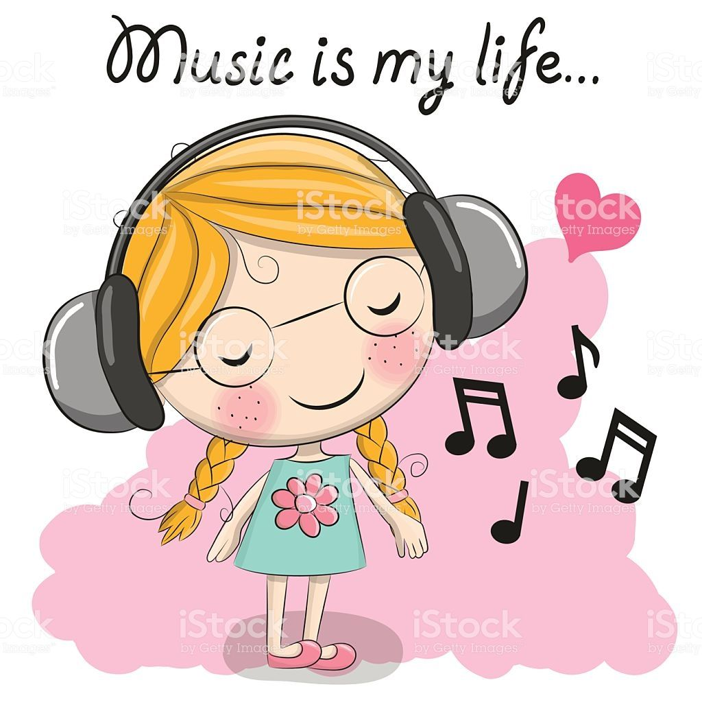 Cute cartoon Girl with headphones and heart Cute cartoon