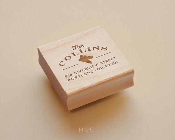 Border-Collie  personalisierte Adresse Stamp von mapleandcotton