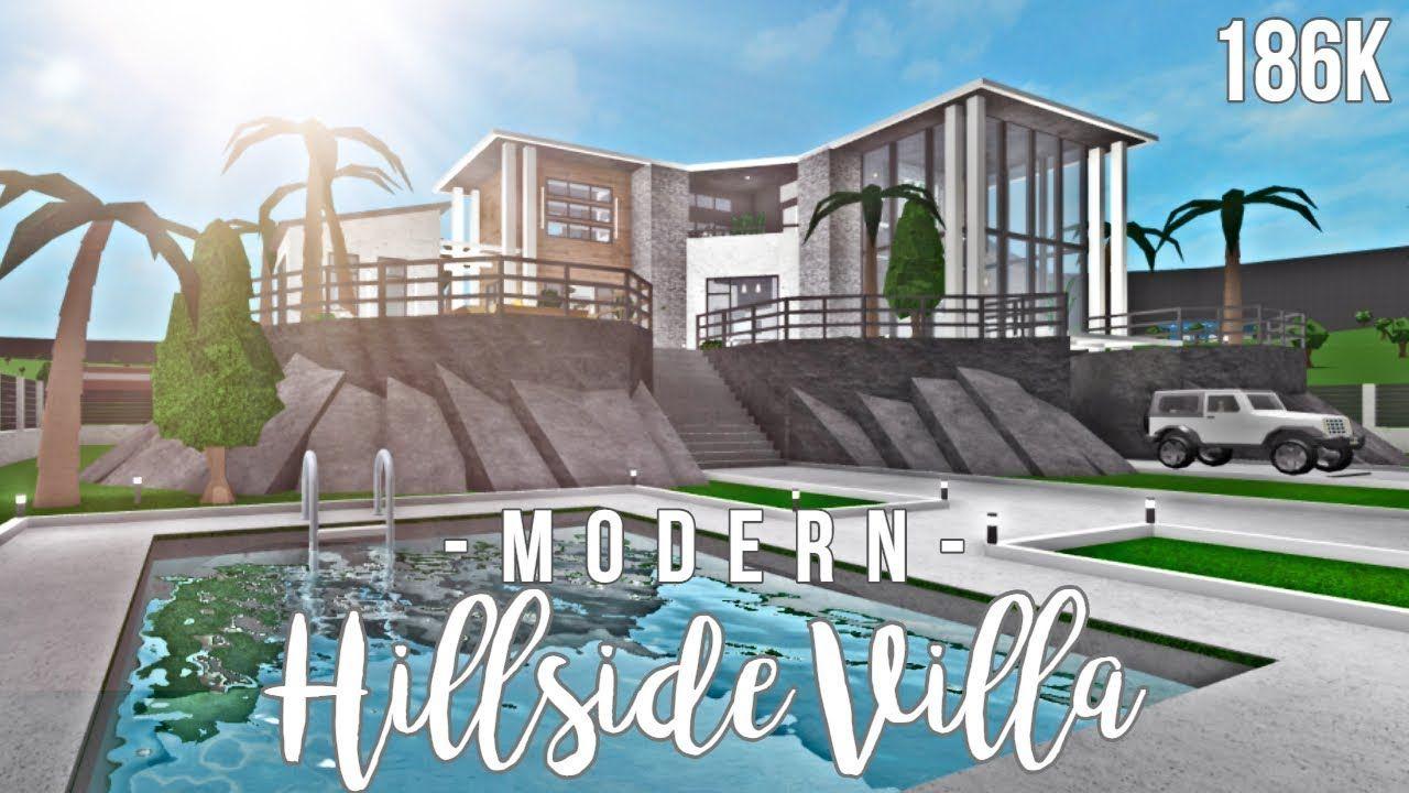 Bloxburg Modern Hillside Villa 186k Face Reveal Ew In 2020 Hillside Villas Beautiful House Plans Cute House