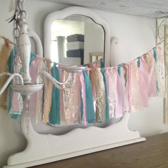 Shabby Chic Pink and Teal Garland Shabby by DenaDanielleDesigns
