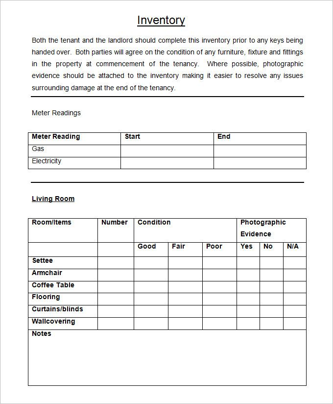 Sample landlord inventory checklist inventory templates for Inventory for rental property template