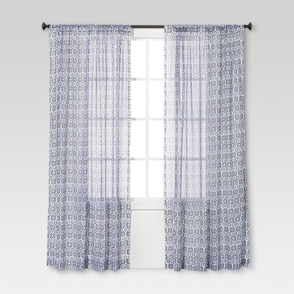 Threshold Curtain Panels Set 2 Brown White Geometric Sheer 54 X 84