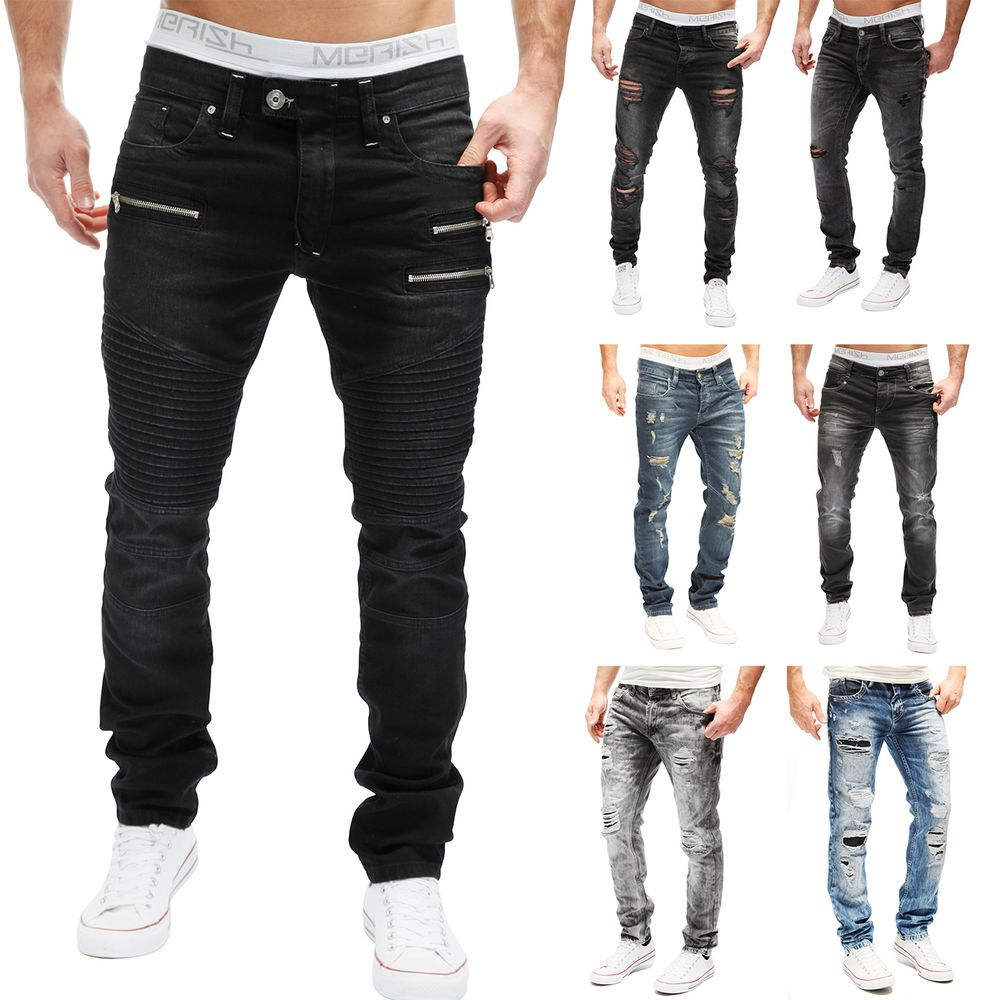 MERISH Herren Jeanshose Destroyed Clubwear Slim   Regular Fit Blue Jeans  MIX NEU   eBay 2524e8388c