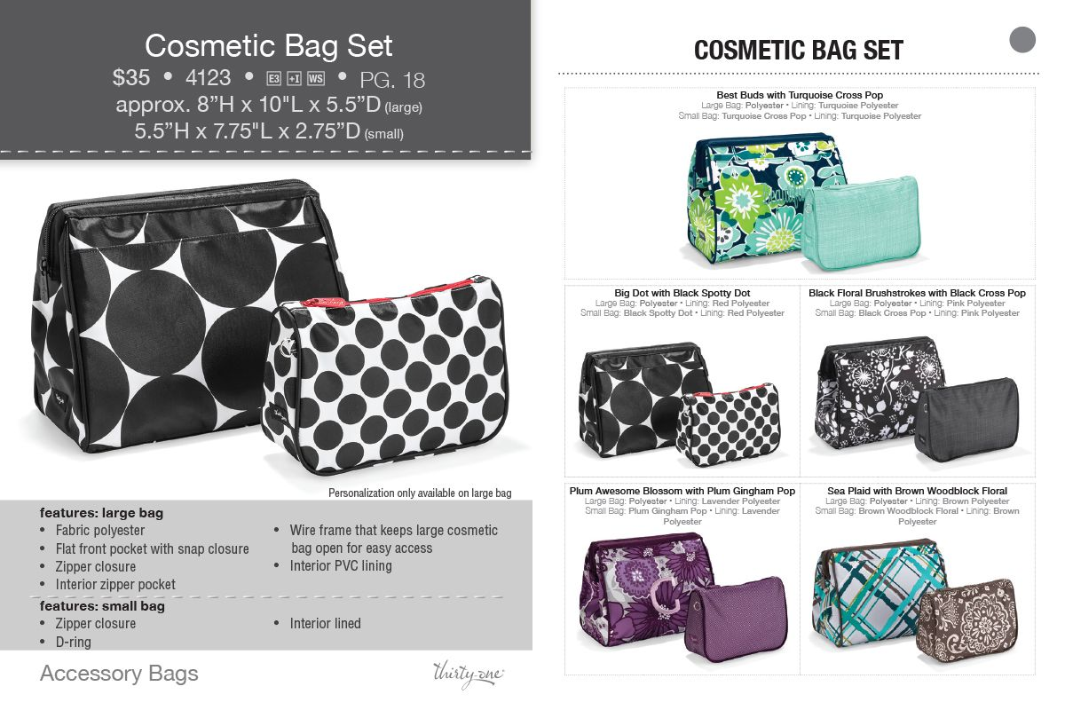4e9a884d60 Cosmetic Bag Set. Use one at home and toss one in your bag.  www.mythirtyone.com JamieKlinger