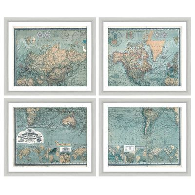 Three Posts Map 4 Piece Framed Graphic Art Set & Reviews | Wayfair