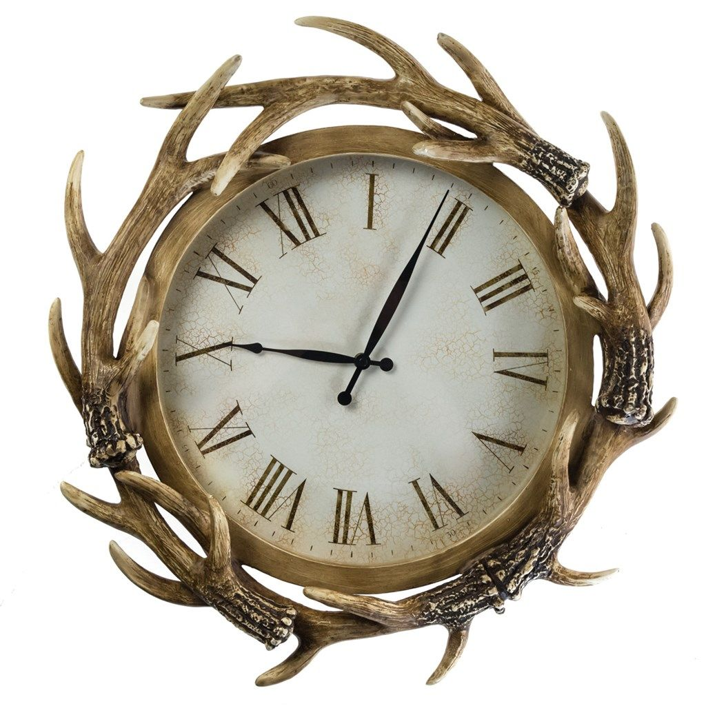 Antler Wall Clock Collections Winter Lodge Winter Lodge Clock Wall Clock