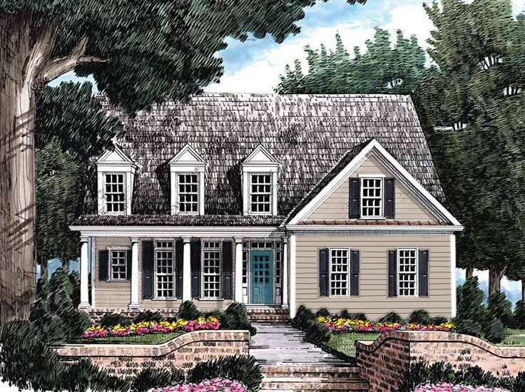 Gray house dark gray shutters muted aqua blue door for Paint colors for country homes