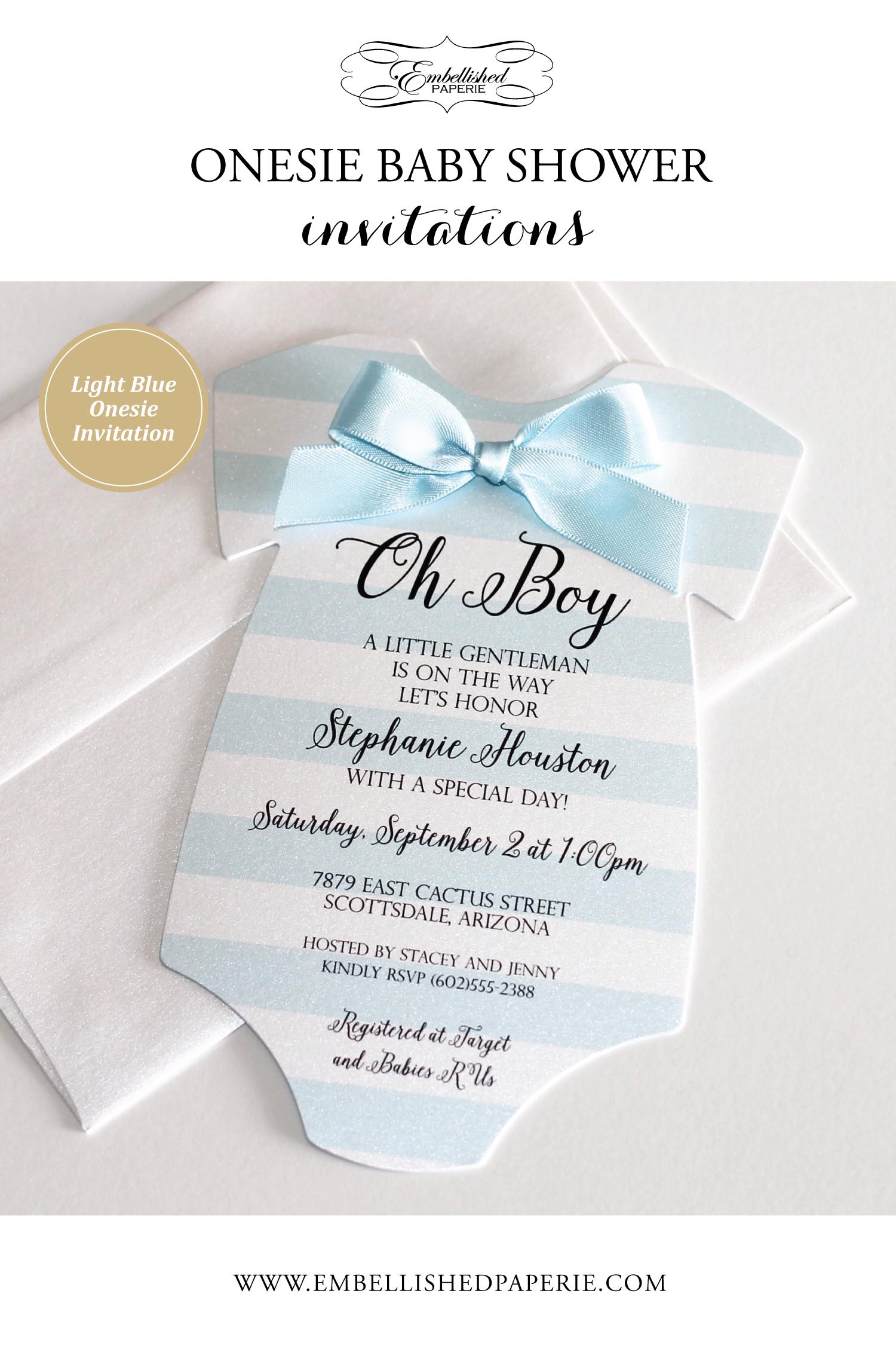 Boy Baby Shower Onesie Invitation
